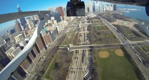 The HDMS system (Black Box – top of image) mounted under helicopter collecting in Chicago