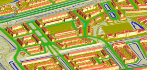 Figure 1. A 3D city scene of Den Haag, the Netherland. The 3D scene has buildings, ground, river, and roads, and are reconstructed by automatic-processing software which are developed by DIPPER. The 3D map of cities could be used in solar energy calculation, flood control, noise simulation, and sensor layout design.