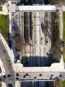 Colorized LiDAR points for a Railroad corridor project that included Mobile LiDAR, Airborne LiDAR, Oblique Imagery and Orthophotography