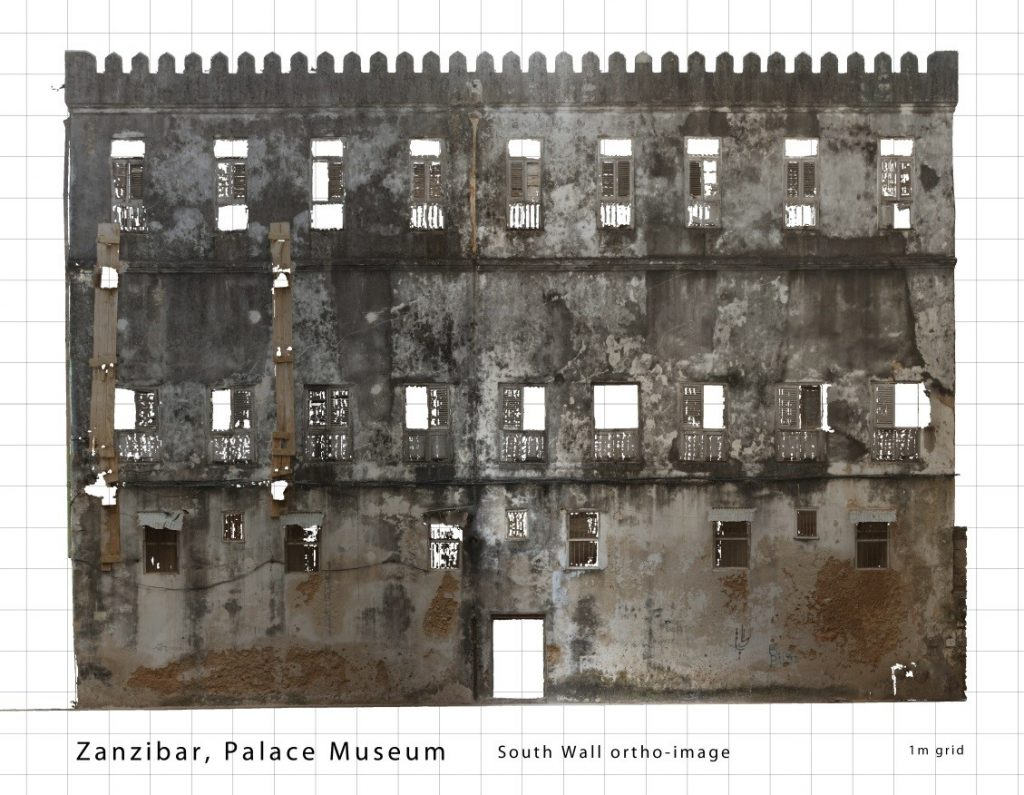 Figure 2: Textured orthophoto of the South Wall of the Palace Museum