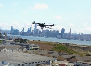 Riegl drone LiDAR flying over Treasure Island, California.