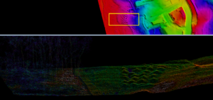 Drone LiDAR surface model and points represented by Echo of Mounds in a LiDAR data set. Provided by Jill Wrenn – PrecisionHawk