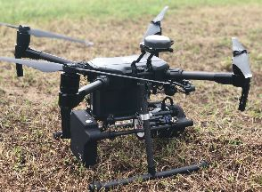 photo of A Quanergy M8 UAV Lidar ready-to-fly system on a DJI M200