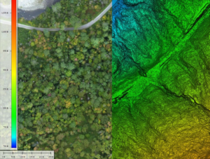 Plainfield Recreation Road Left: Colorized LiDAR point cloud Right: Bare earth terrain model