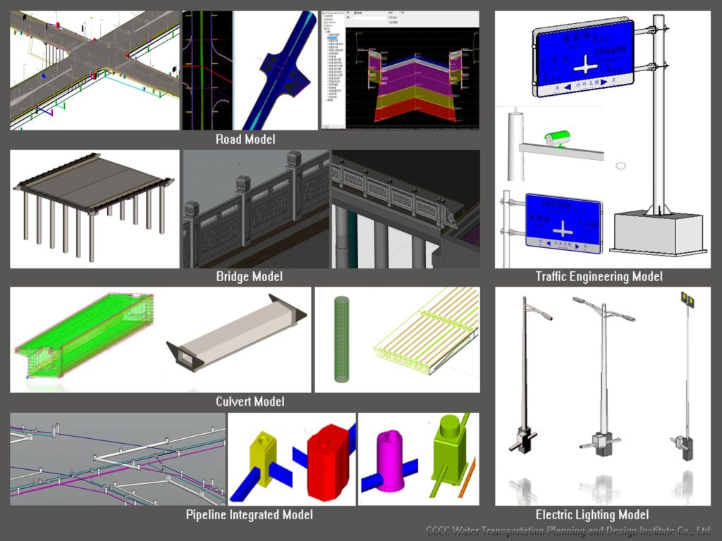 Collage if images - CCCC used Bentley applications to create a BIM project management platform to generate the digital city.